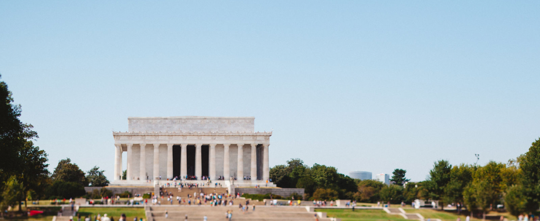 People visiting Lincoln Memorial in Washington DC