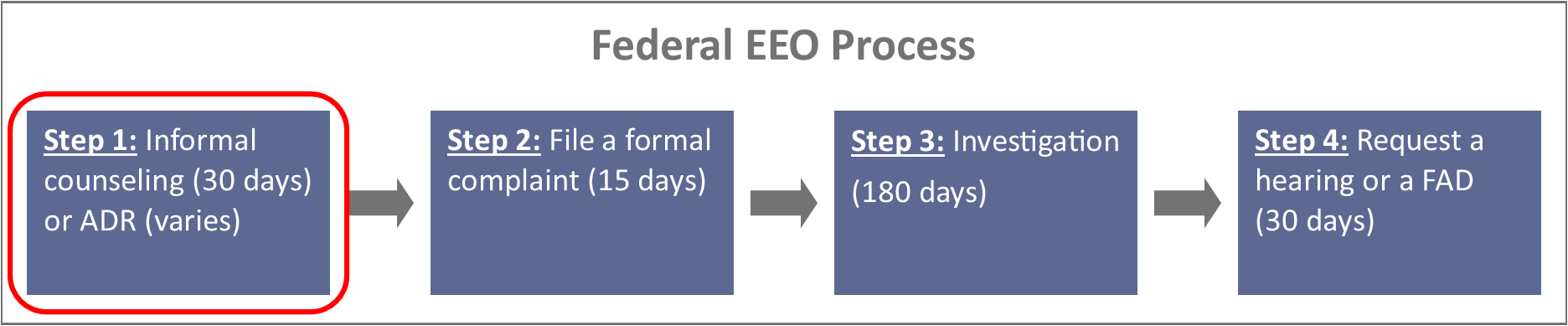 Federal EEO process; Step 1: Informal counseling (30 days) or ADR (varies); Step 2: File a formal complaint (15 days); Step 3: Investigation (180 days); Step 4: Request a hearing or a FAD (30 days)